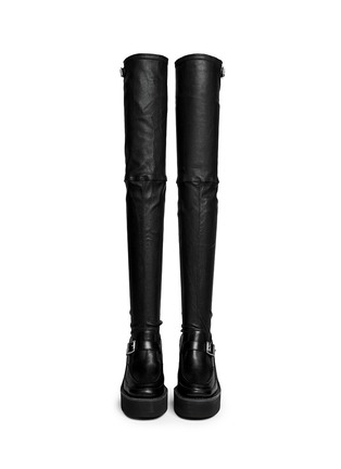 Figure View - Click To Enlarge - SACAI - Thigh high leather loafer wedge boots