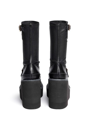 Back View - Click To Enlarge - Sacai - Leather loafer wedge ankle boots