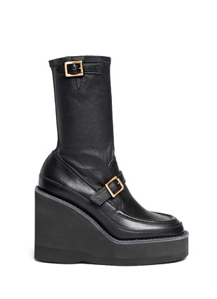 Main View - Click To Enlarge - Sacai - Leather loafer wedge ankle boots