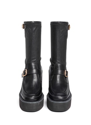 Figure View - Click To Enlarge - Sacai - Leather loafer wedge ankle boots