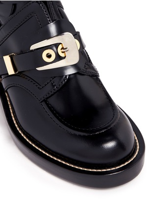 Detail View - Click To Enlarge - Balenciaga - 'Ceinture' metal eyelet cutout leather Derby boots