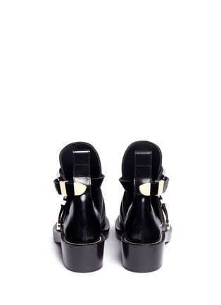 Back View - Click To Enlarge - Balenciaga - 'Ceinture' metal eyelet cutout leather Derby boots