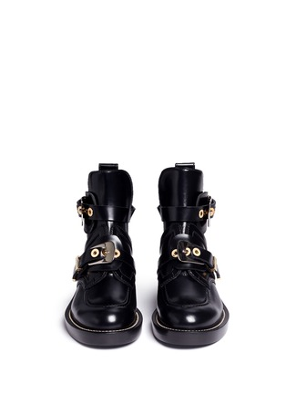 Front View - Click To Enlarge - Balenciaga - 'Ceinture' metal eyelet cutout leather Derby boots