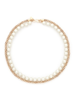 Main View - Click To Enlarge - Kenneth Jay Lane - Glass pearl crystal pavé necklace