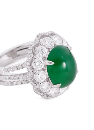Detail View - Click To Enlarge - LC COLLECTION JADE - Diamond jade 18k white gold ring and earrings set