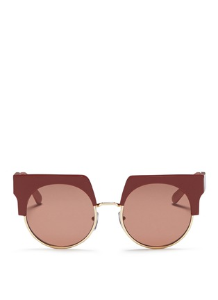 Main View - Click To Enlarge - Marni - 'Graphic' colourblock brow bar acetate round sunglasses