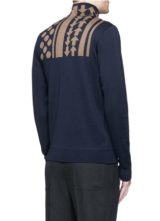 Back View - Click To Enlarge - KOLOR - Arrow dot intarsia wool turtleneck sweater