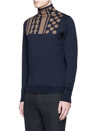Front View - Click To Enlarge - KOLOR - Arrow dot intarsia wool turtleneck sweater