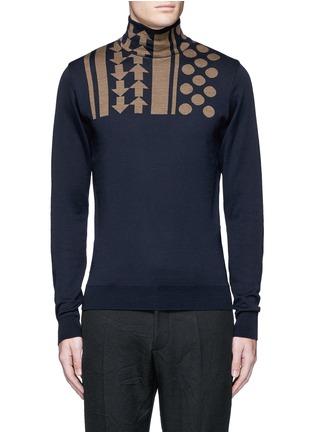 Main View - Click To Enlarge - KOLOR - Arrow dot intarsia wool turtleneck sweater
