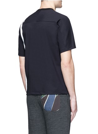 Back View - Click To Enlarge - kolor - Contrast stripe tech jersey T-shirt