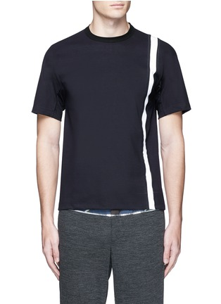 Main View - Click To Enlarge - KOLOR - Contrast stripe tech jersey T-shirt