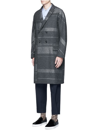 Front View - Click To Enlarge - KOLOR - Metallic stripe double breasted coat