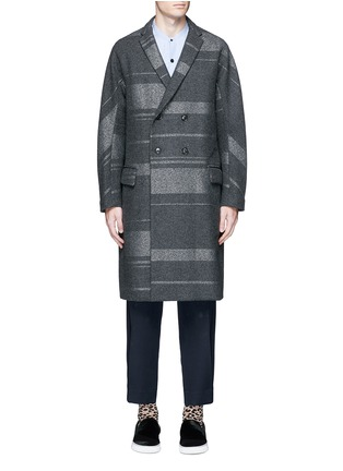 Main View - Click To Enlarge - KOLOR - Metallic stripe double breasted coat