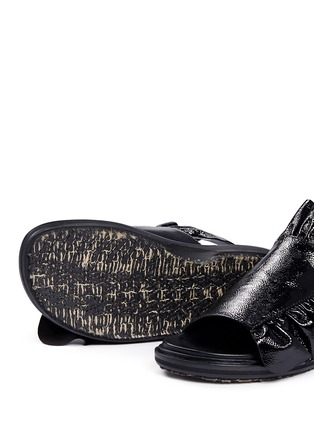 Detail View - Click To Enlarge - Marni - 'Fussbett' ruffle patent leather sandals