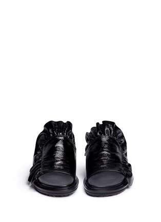 Front View - Click To Enlarge - Marni - 'Fussbett' ruffle patent leather sandals