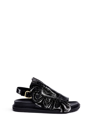 Main View - Click To Enlarge - Marni - 'Fussbett' ruffle patent leather sandals