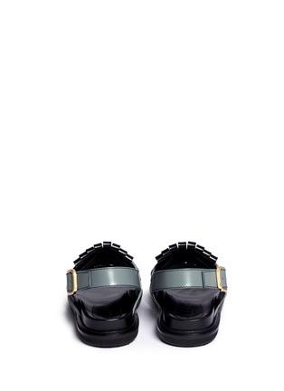 Back View - Click To Enlarge - MARNI - 'Fussbett' colourblock kiltie fringe leather sandals