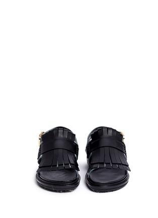 Front View - Click To Enlarge - MARNI - 'Fussbett' colourblock kiltie fringe leather sandals