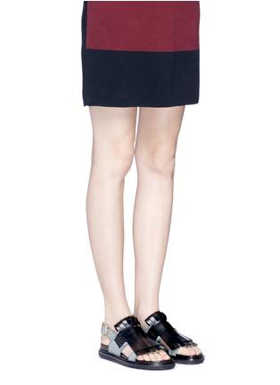 Figure View - Click To Enlarge - MARNI - 'Fussbett' colourblock kiltie fringe leather sandals