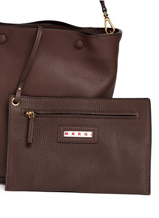 Detail View - Click To Enlarge - Marni - Small pebbled leather bucket bag