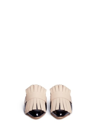 Front View - Click To Enlarge - MARNI - Colourblock kiltie fringe leather flat mules