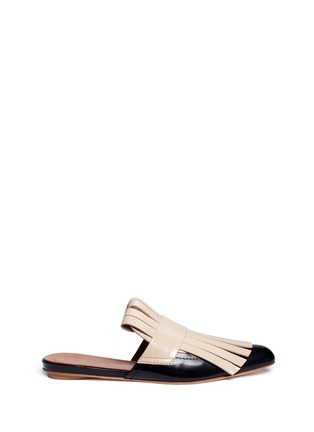 Main View - Click To Enlarge - MARNI - Colourblock kiltie fringe leather flat mules