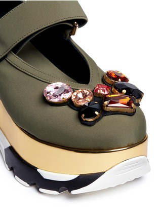 Detail View - Click To Enlarge - MARNI - Jewelled patent platform Mary Jane sneakers