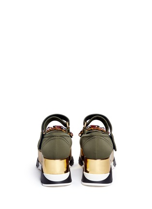 Back View - Click To Enlarge - MARNI - Jewelled patent platform Mary Jane sneakers