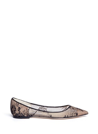 Main View - Click To Enlarge - Jimmy Choo - 'Alina' floral lace skimmer flats
