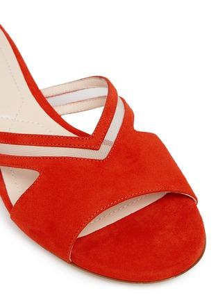 Detail View - Click To Enlarge - NICHOLAS KIRKWOOD - 'Casati Pearl' cutout chevron suede slide sandals