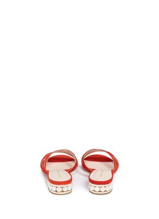 Back View - Click To Enlarge - NICHOLAS KIRKWOOD - 'Casati Pearl' cutout chevron suede slide sandals