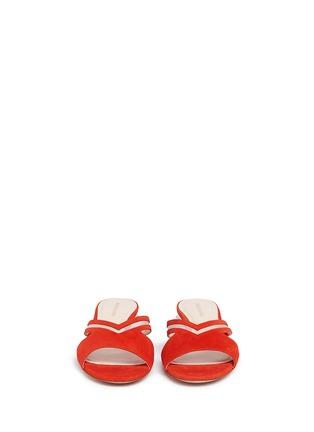 Front View - Click To Enlarge - NICHOLAS KIRKWOOD - 'Casati Pearl' cutout chevron suede slide sandals