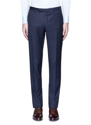 Main View - Click To Enlarge - Incotex - Slim fit diamond jacquard pants