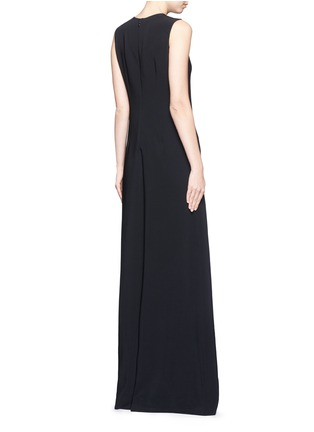 Back View - Click To Enlarge - Stella McCartney - Brass brooch wide flare leg crepe jumpsuit