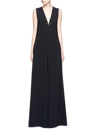 Main View - Click To Enlarge - Stella McCartney - Brass brooch wide flare leg crepe jumpsuit