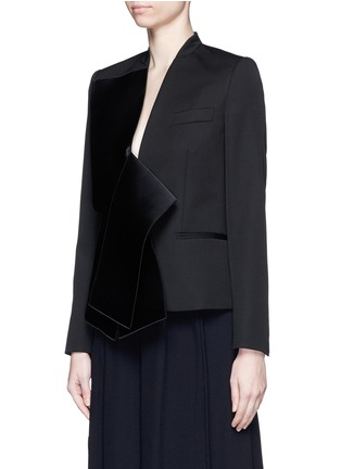 Front View - Click To Enlarge - Stella McCartney - Sateen bow wool tailored jacket