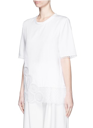 Front View - Click To Enlarge - Stella McCartney - Broderie anglaise trim poplin top