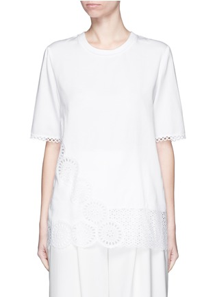 Main View - Click To Enlarge - Stella McCartney - Broderie anglaise trim poplin top