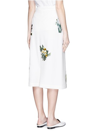 Back View - Click To Enlarge - Stella McCartney - ''Kyle' flower embroidery dropped crotch culottes