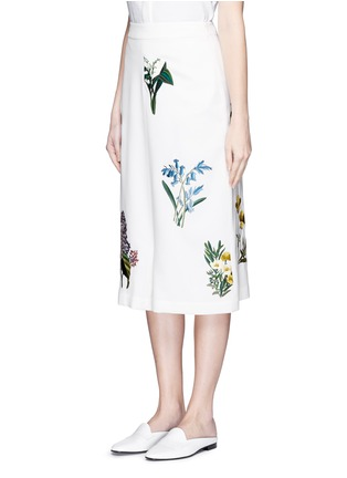 Front View - Click To Enlarge - Stella McCartney - ''Kyle' flower embroidery dropped crotch culottes