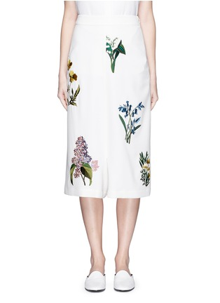 Main View - Click To Enlarge - Stella McCartney - ''Kyle' flower embroidery dropped crotch culottes