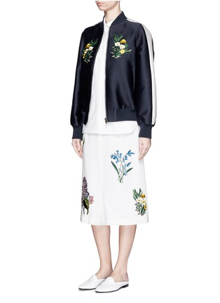 Figure View - Click To Enlarge - Stella McCartney - ''Kyle' flower embroidery dropped crotch culottes