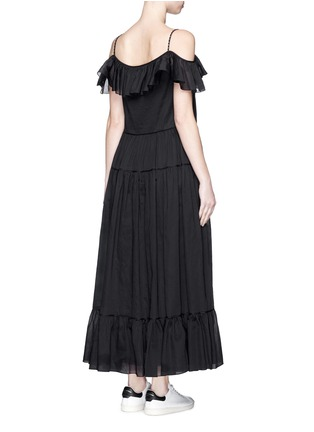 Back View - Click To Enlarge - SAINT LAURENT - Ruffle tier organza maxi dress