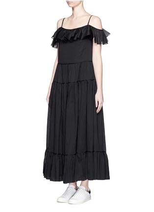 Front View - Click To Enlarge - SAINT LAURENT - Ruffle tier organza maxi dress