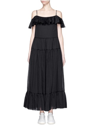 Main View - Click To Enlarge - SAINT LAURENT - Ruffle tier organza maxi dress