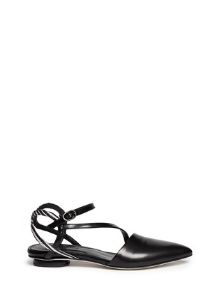 Main View - Click To Enlarge - CHELSEA PARIS - 'Amora' snakeskin strap leather flats