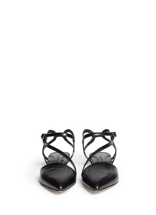 Figure View - Click To Enlarge - CHELSEA PARIS - 'Amora' snakeskin strap leather flats