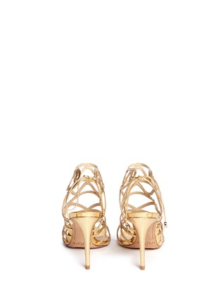 Back View - Click To Enlarge - ALEXANDRE BIRMAN - 'Nim' metallic python leather caged sandals
