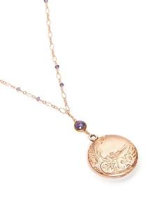 Antique Lockets Iolite 14k gold chain round antique locket necklace