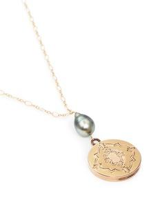 Antique Lockets Tahitian pearl 14k gold antique round locket necklace